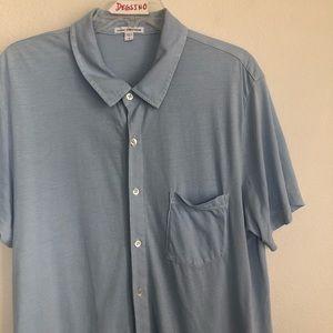 James Perse Button Front Short Sleeve Shirt M